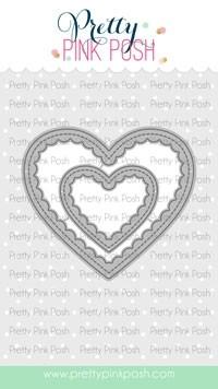 Pretty Pink Posh Scallop Hearts Die