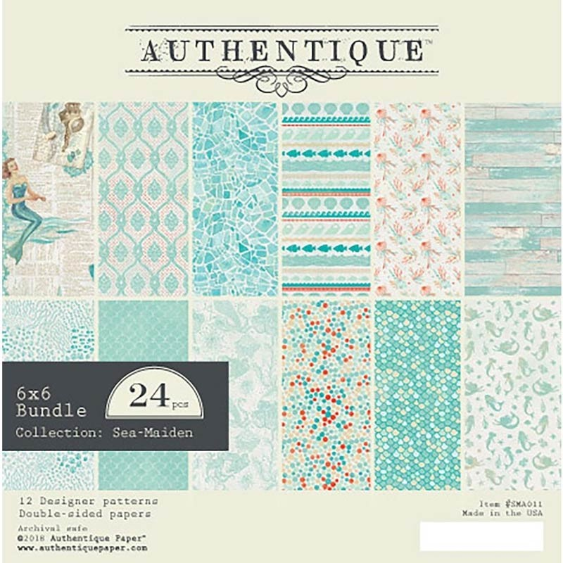 """Authentique Double-Sided Cardstock Pad 6""""X6"""" Sea-Maiden"""
