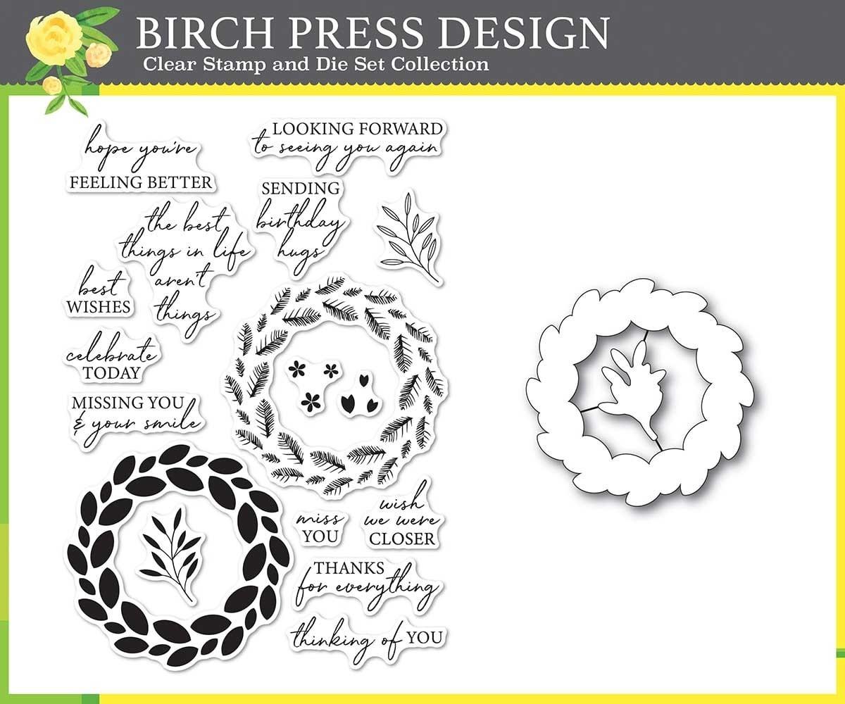 Birch Press Classic Sentimental Wreath stamp and die set 8157