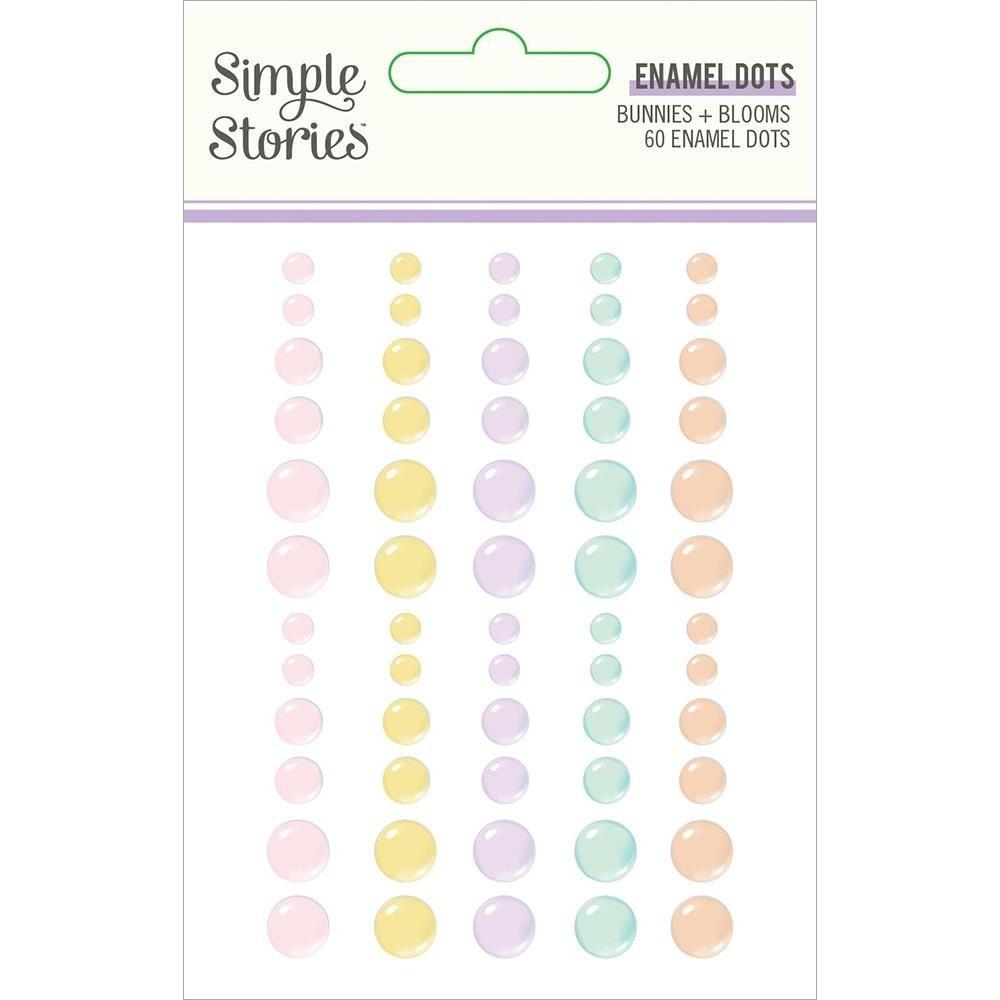 Simple Stories Bunnies & Blooms Enamel Dots Embellishments 60/Pkg