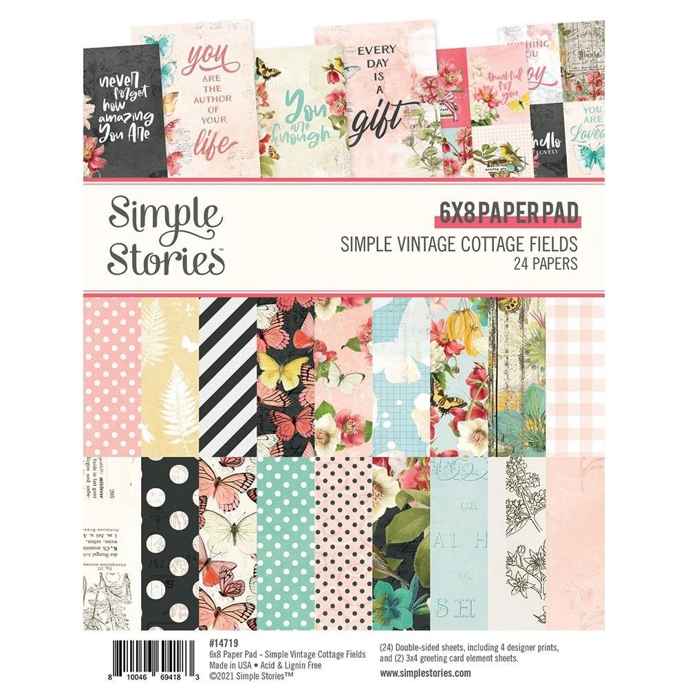 Simple Vintage Cottage Fields Paper Pad