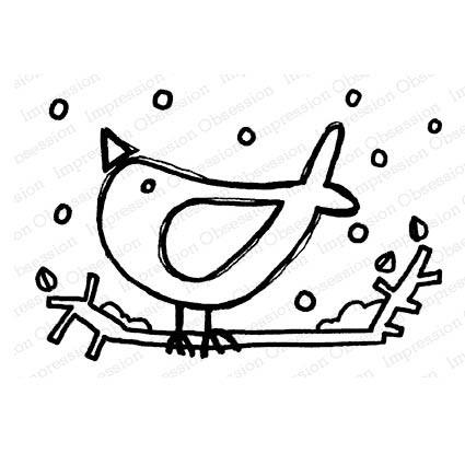 Snow Bird Rubber Stamp  iod21220