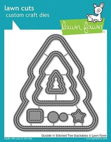 SALE - Lawn Fawn Stitched Christmas Tree Stackables  LF1797