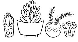 5750E - succulent shelf rubber stamp