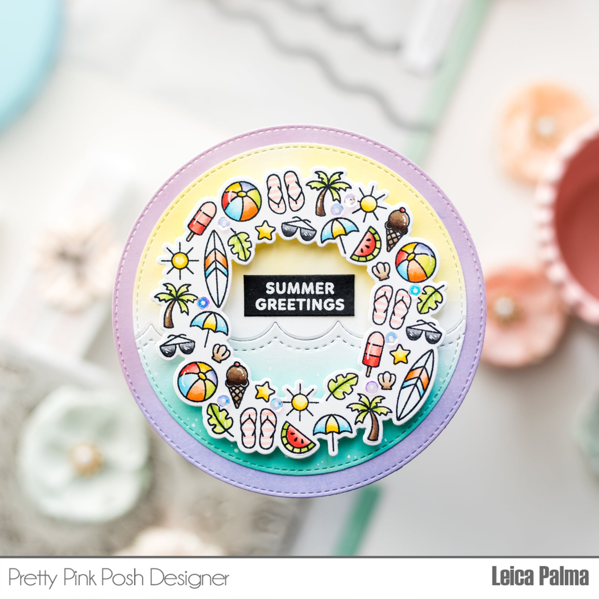 Pretty Pink Posh Summer Wreath stamp set