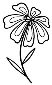 5742F - sunny flower rubber stamp