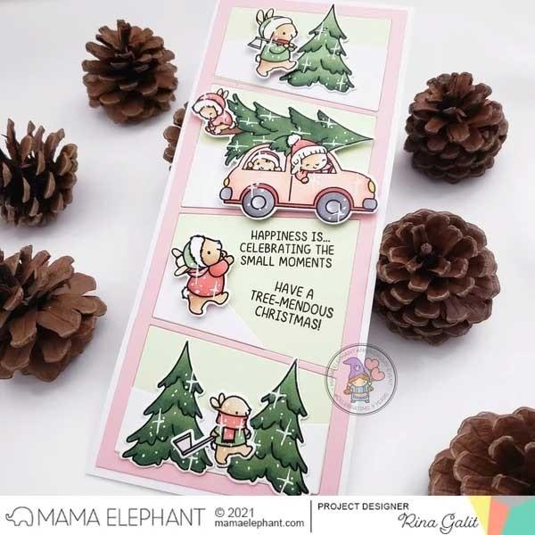 Mama Elephant Tree Picking 4x6 Clear Stamp Set