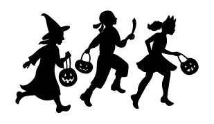 5726h - trick or treater trio rubber stamp