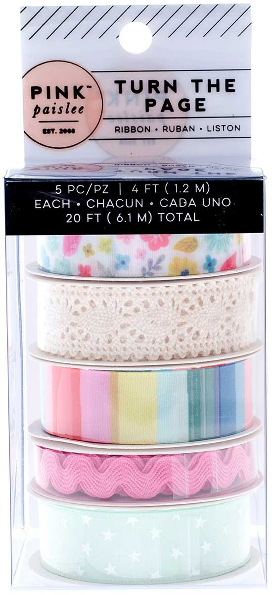 SALE - Pink Paislee Turn the Page Ribbon