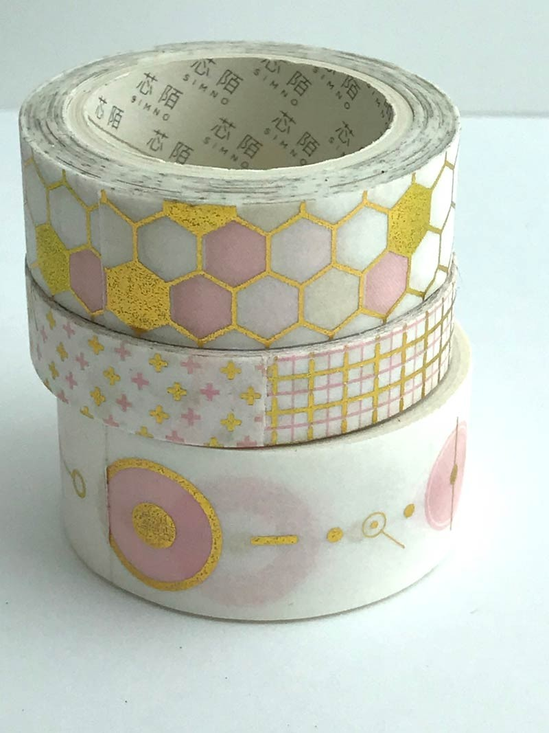 Pink and Gold Patterns Washi Tape
