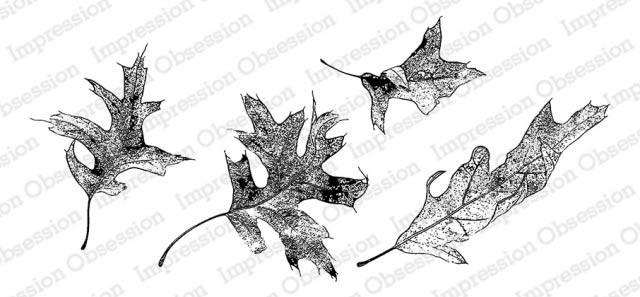 Wind Swept Leaves Rubber Stamp IOj20533