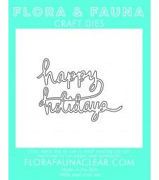 Flora & Fauna Happy Holidays cursive die