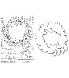 Memory Box Berry Wreath clear stamp and die set cl5260d