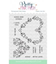 Pretty Pink Posh Floral Heart Stamp Set