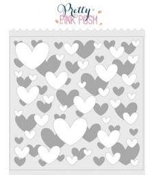 Pretty Pink Posh Layered Hearts Stencil (2 pack)