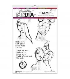 NEW Dina Wakley Ledger Girls Stamp Set