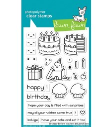 Lawn Fawn birthday before 'n afters clear stamps