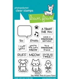 Lawn Fawn say what? pets stamp set