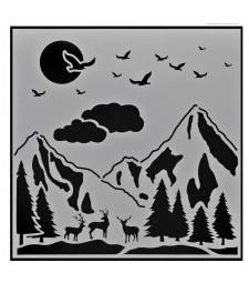 Mountain Landscape Stencil