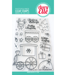 Avery Elle Peek A Boo Christmas Train Clear Stamps D2030