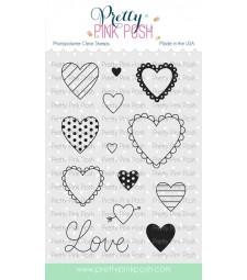 Pretty Pink Posh Valentine Hearts Stamp Set