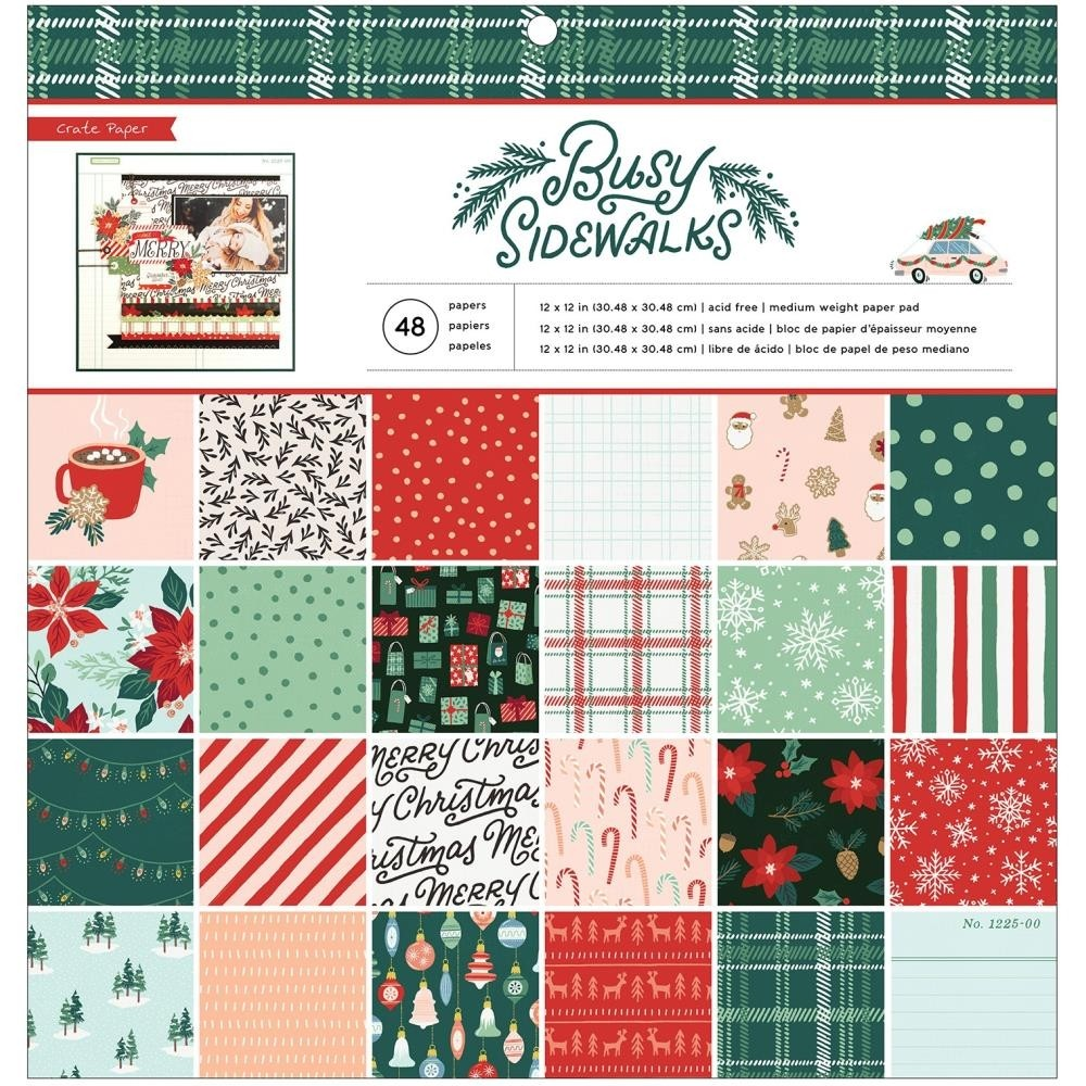 """Crate Paper Busy Sidewalks Single-Sided Paper Pad 12""""X12"""""""