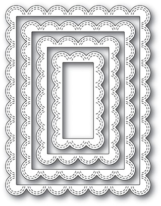Double Stitched Scalloped Rectangle Frames Dies 2002