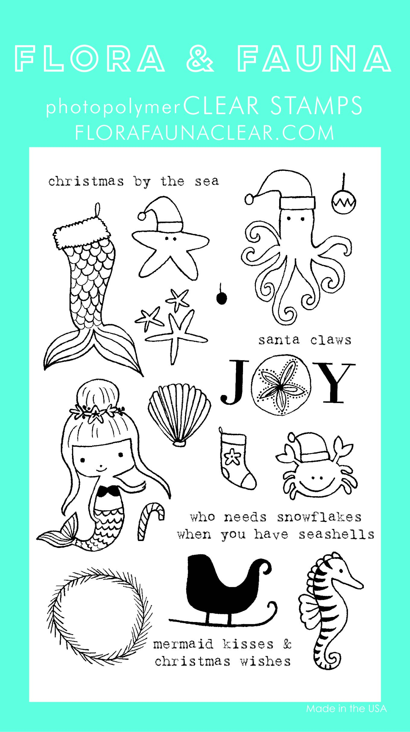 Flora & Fauna Christmas by the Sea Clear Stamp Set