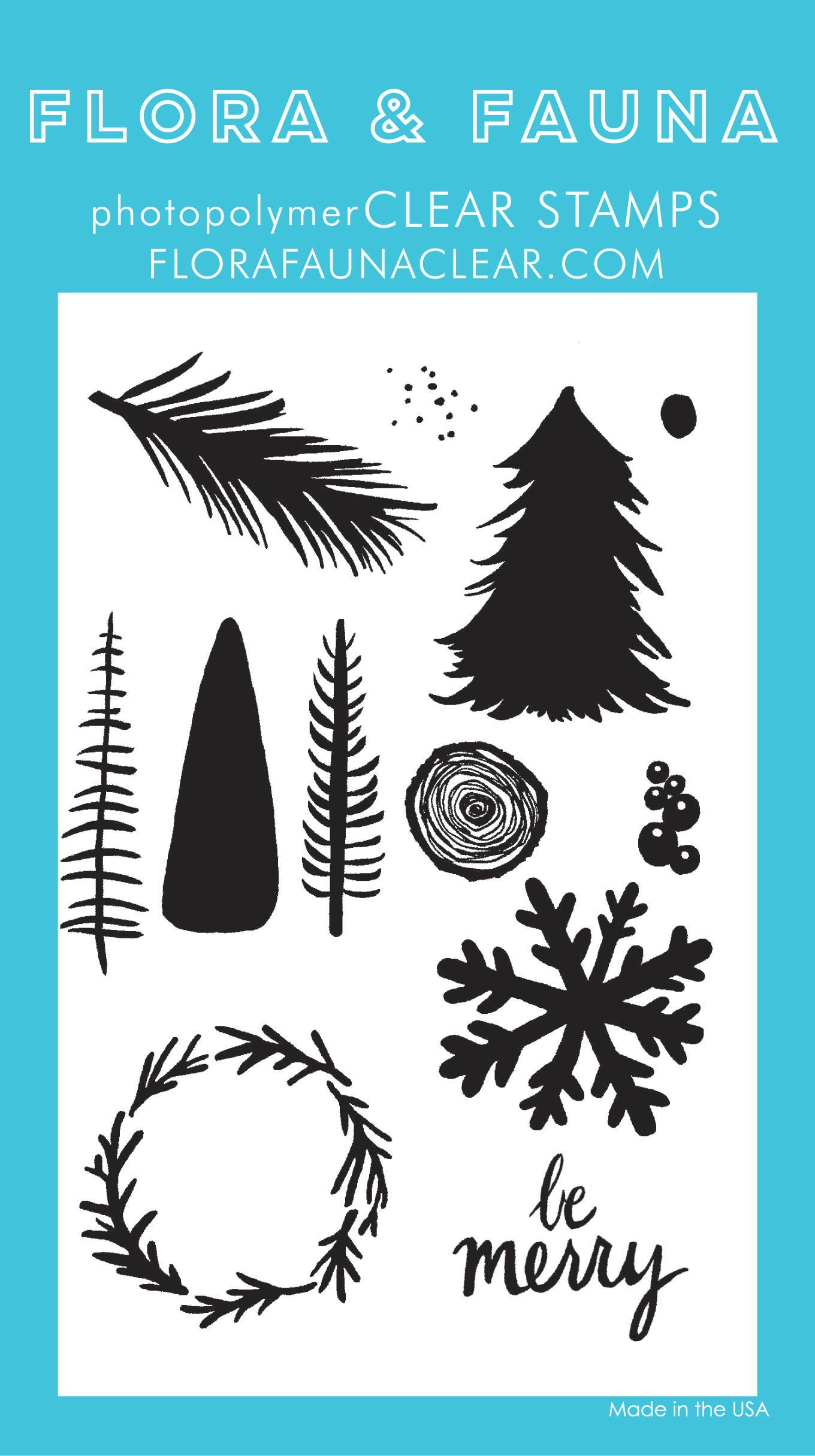 Flora & Fauna Holiday Watercolor Clear Stamp Set