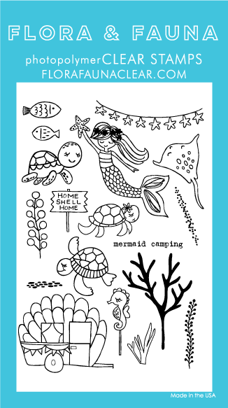 Flora and Fauna Mermaid Camping Clear Stamp Set