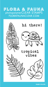 Flora and Fauna Mini Tropical Turtle Clear Stamp Set