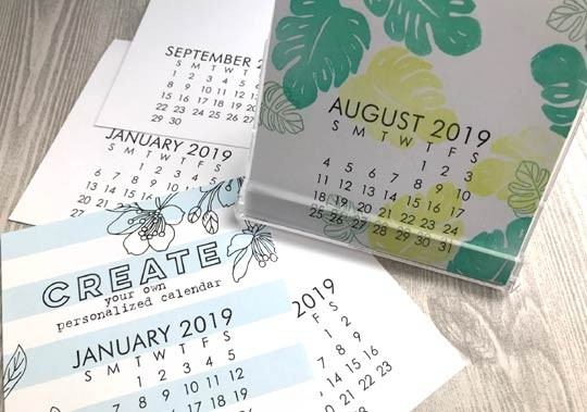 Small Impress 2019 DIY calendar