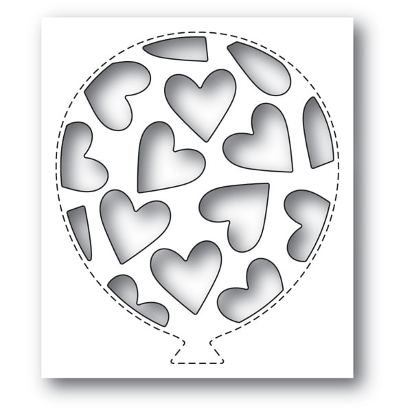 Poppy Stamps Tumbled Heart Balloon Collage 2156