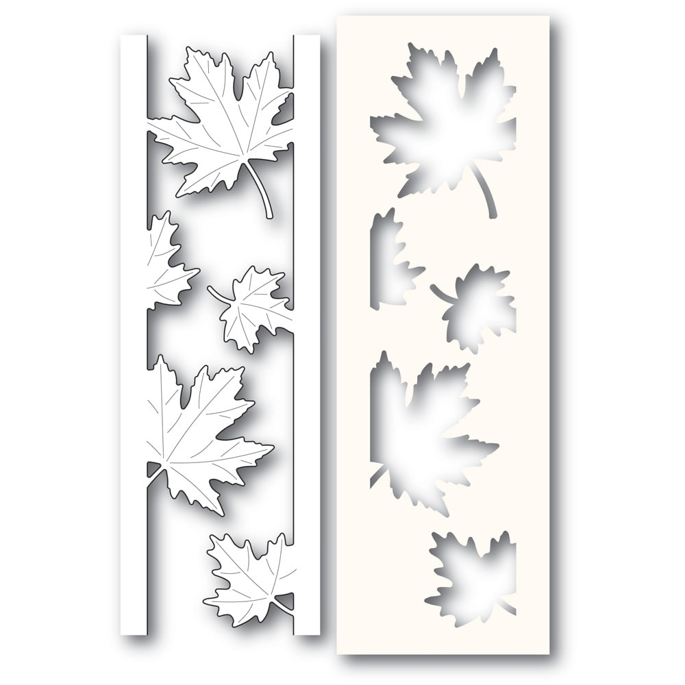 Poppystamps Maple Leaf Side Strips and Stencil 2236