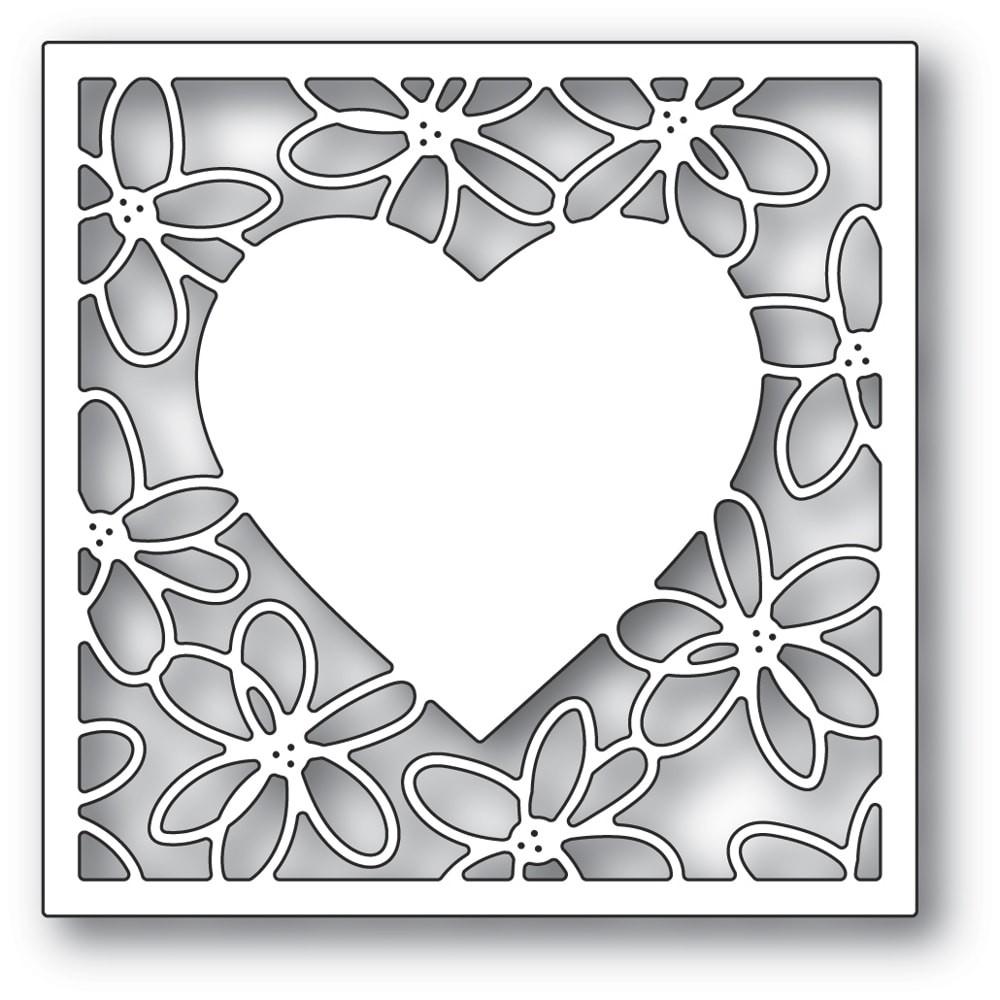 Poppystamps Scribble Daisy Heart Frame 2297