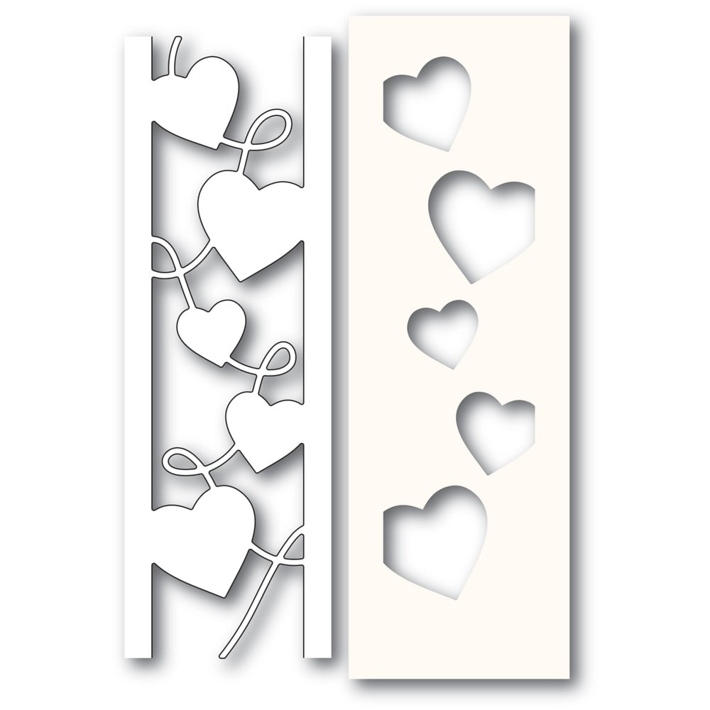Poppystamps Curvy Heart Side Strips and Stencil 2301