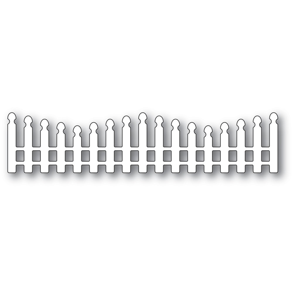 Poppystamps Wavy Long Picket Fence 2352