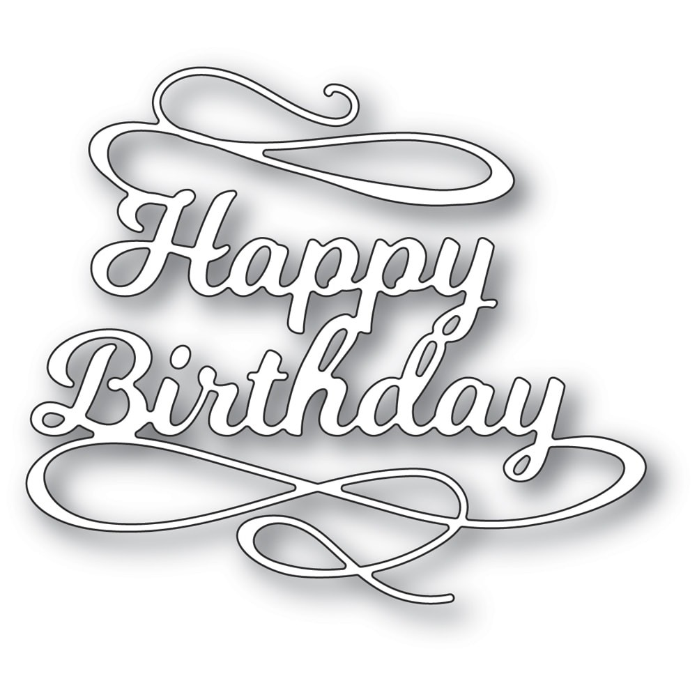 Poppystamps Happy Birthday Flourish 2374