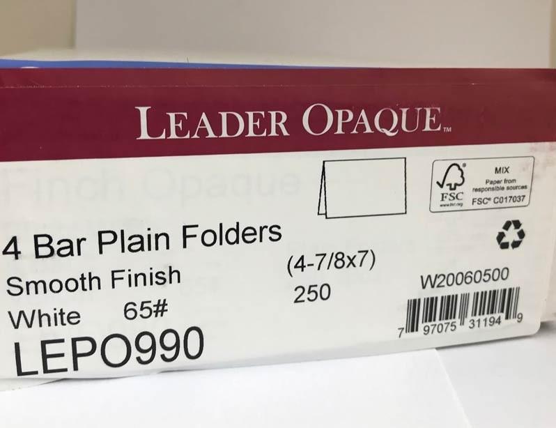 4 Bar Folders 250/box