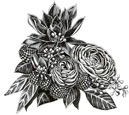5578k - pen and ink bouquet rubber stamp