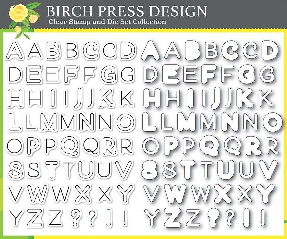 Birch Press Mod Alphabet clear stamp and die set