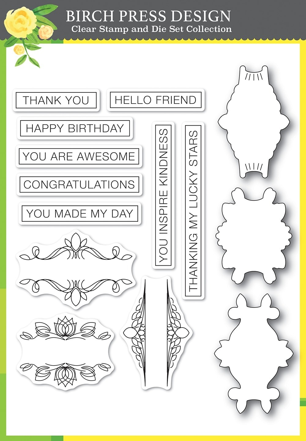 Birch Press Awesome Ticker Tape Messages clear stamp and die set 8149