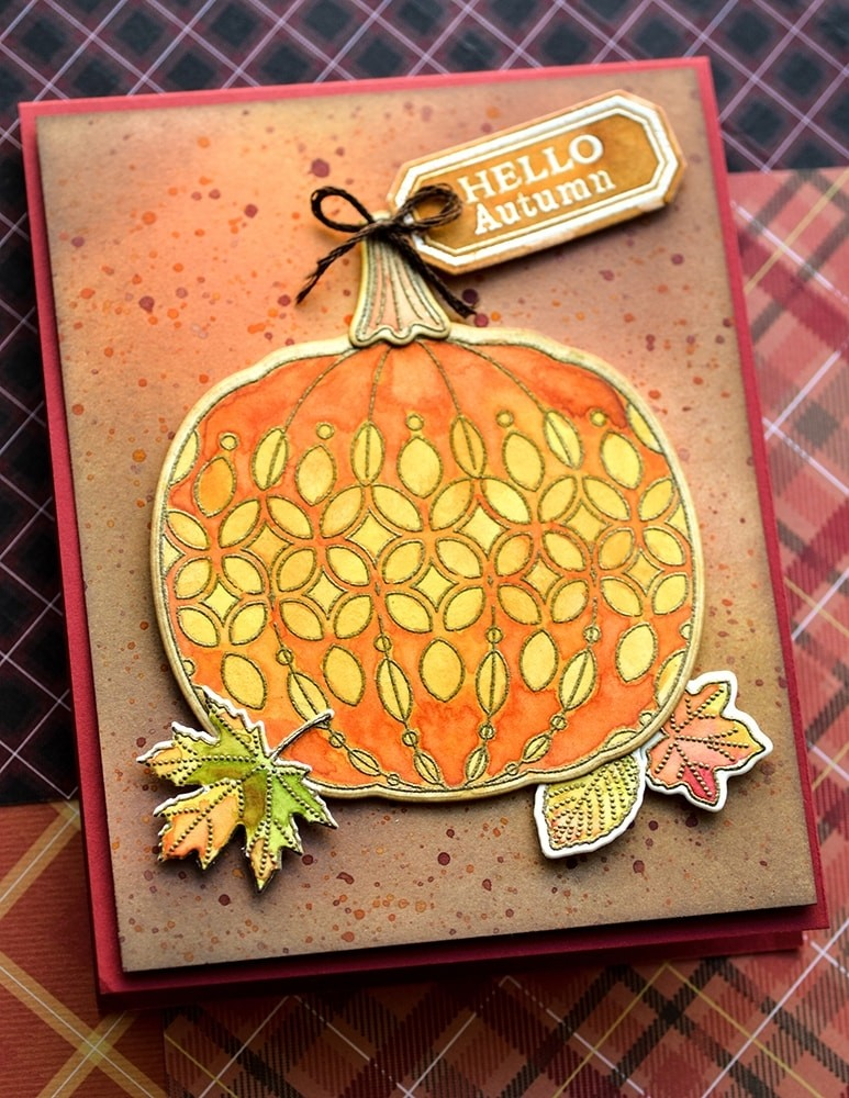 Pumpkin Lacework clear stamp and die set 8153