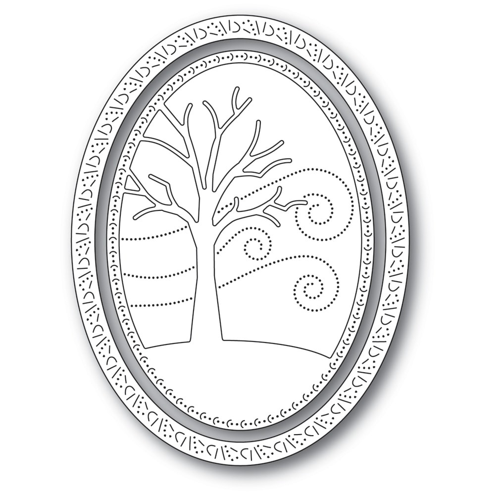 Memory Box Winter Tree Oval Frame Die 94309