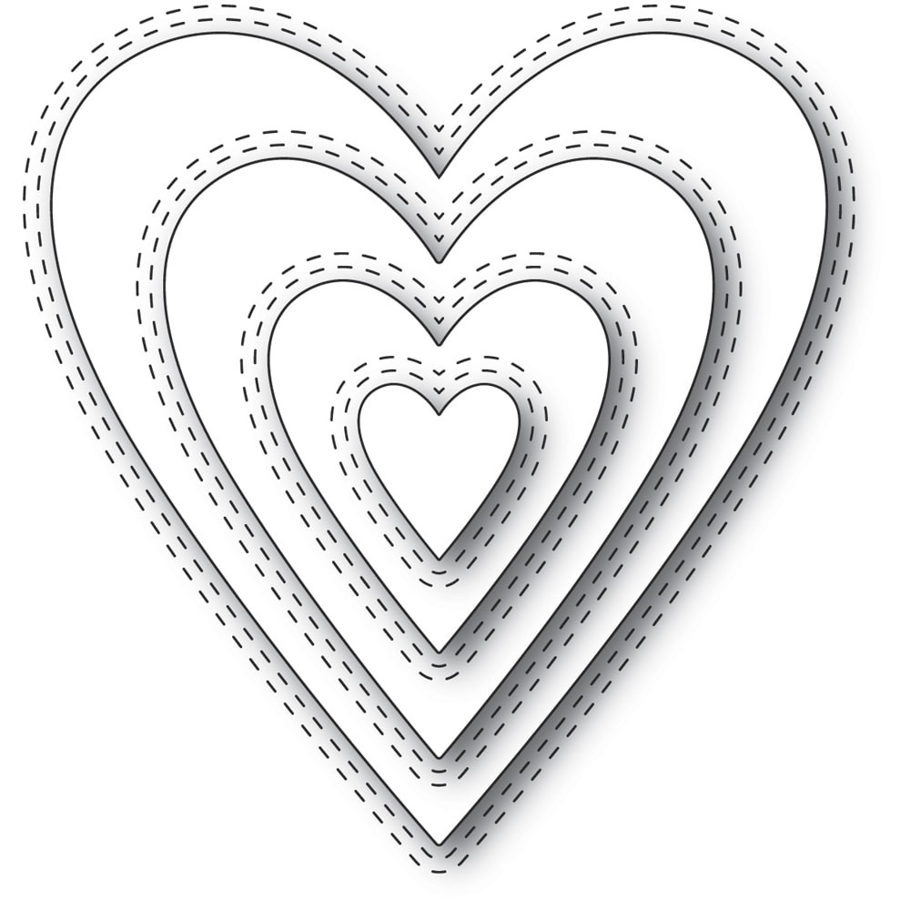 Memory Box 94361 Double Stitch Happy Heart Cut Out craft die