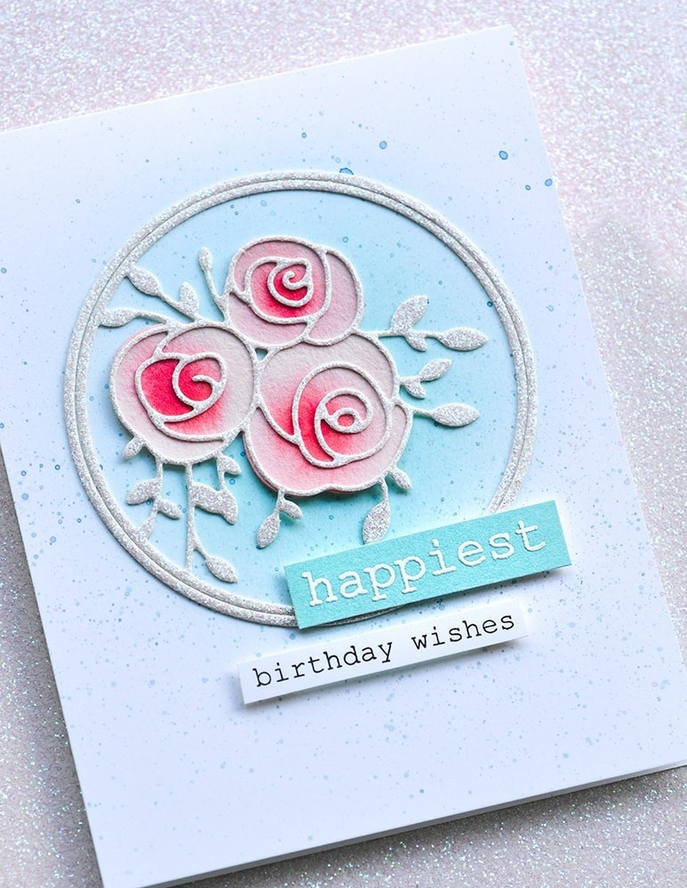 Memory Box Scribble Rose Trio and Background 94436