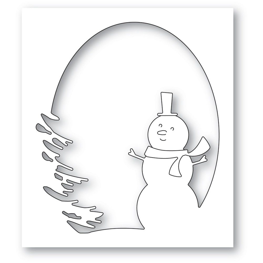 Memory Box Oval Snowman Collage 94608