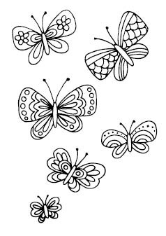 5697h - abstract butterflies rubber stamp