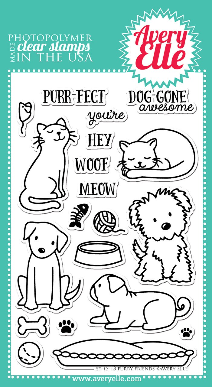 avery elle furry friends clear stamps