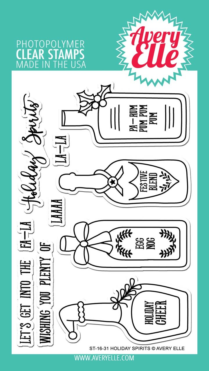Avery Elle Holiday Spirits Clear Stamp Set